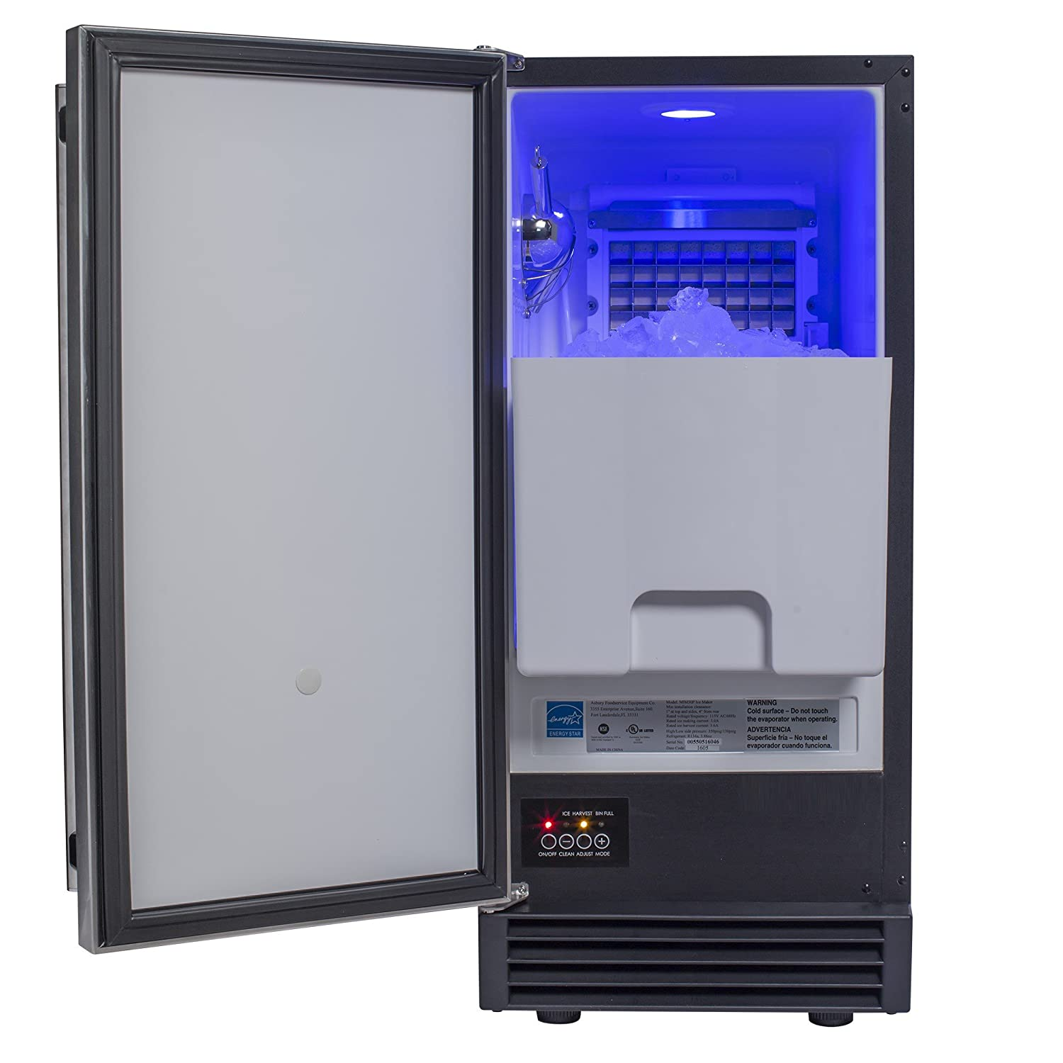 Chef's Exclusive Built-In Undercounter or Freestanding 60 Pound Per Day Clear Ice Machine Maker with Drain Pump - Energy Star - Reversible Stainless Steel Door 25 Pound Removable Ice Bin, 14.6' Wide 14.6 Wide Chef' s Exclusive CE101
