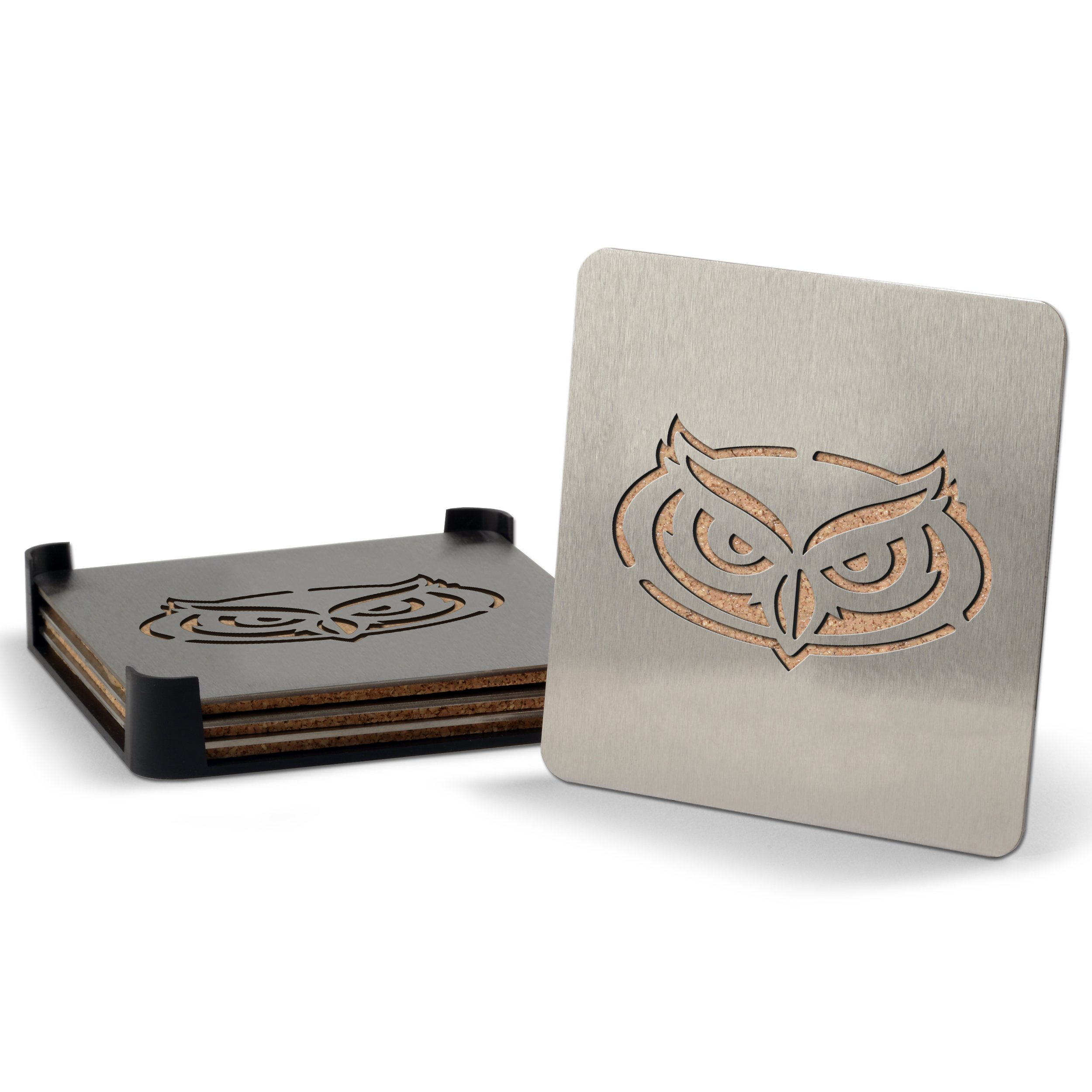 YouTheFan NCAA Florida Atlantic Owls 4-Piece Stainless Steel Boaster Drink Coaster by Sportula (Image #1)