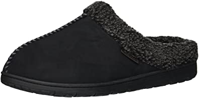 51e65a6e651 Dearfoams Men s Microsuede Clog with Whipstitch in Wide Width Slipper Black  LW Regular US