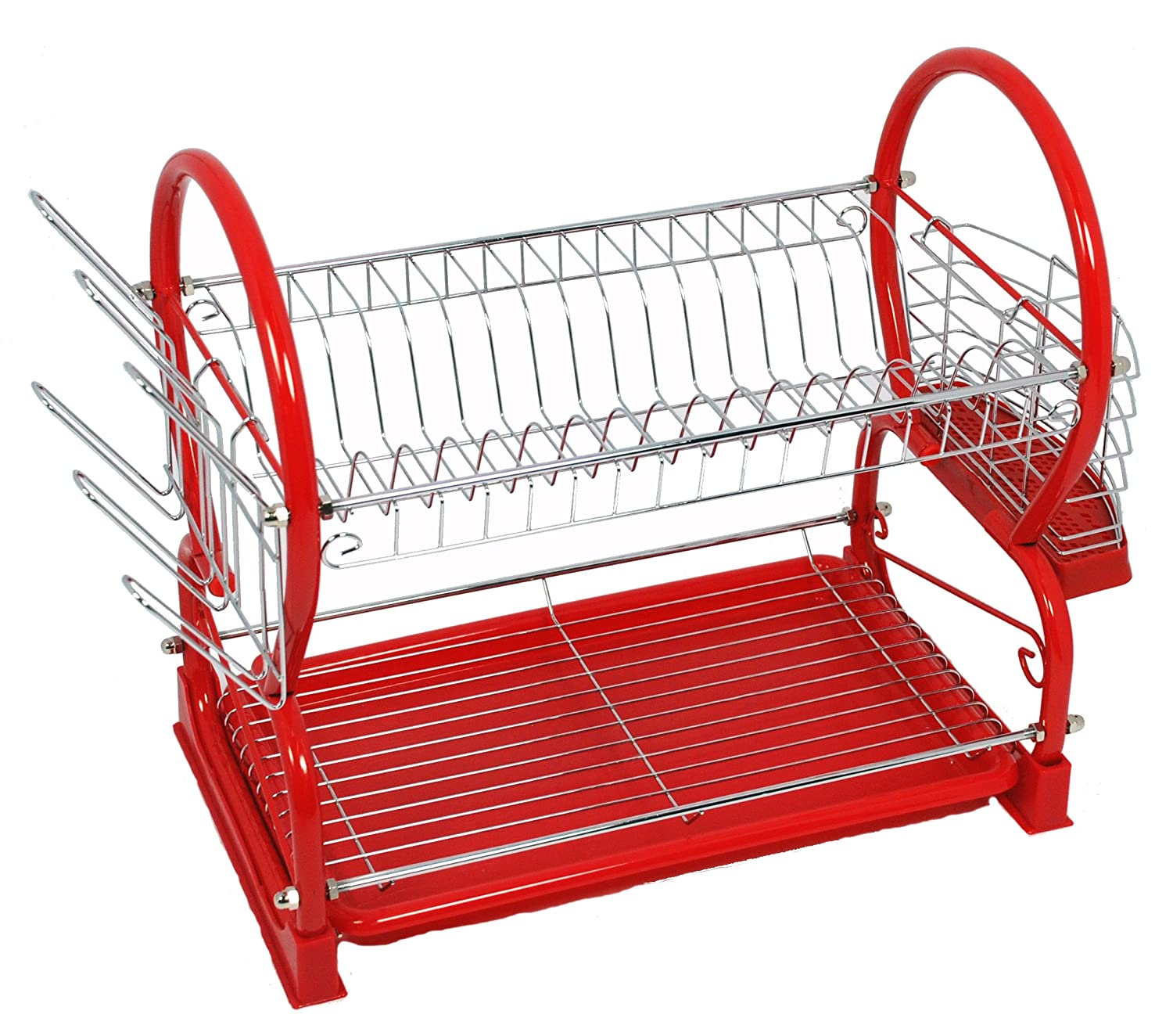 Buckingham 56 cm Metal Deluxe 2-Tier Chrome Plated Dish Drainer Cup Glasses Crockery Cutlery Utensil Drainer with Drip Removable Tray, Red B & I International 30015