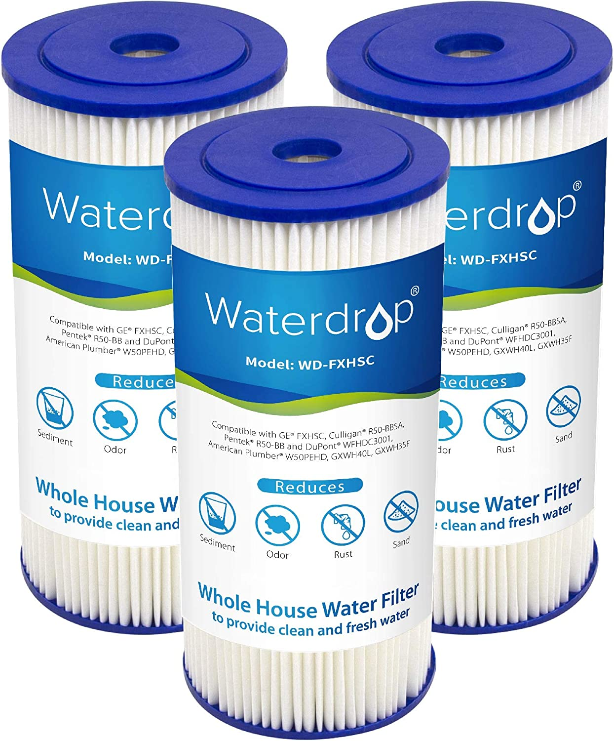 Waterdrop FXHSC Whole House Water Filter American Plumber W50PEHD Compatible with GE FXHSC Pack of 3 Culligan R50-BBSA GXWH35F GXWH40L Pentek R50-BB and Dupont WFHDC3001