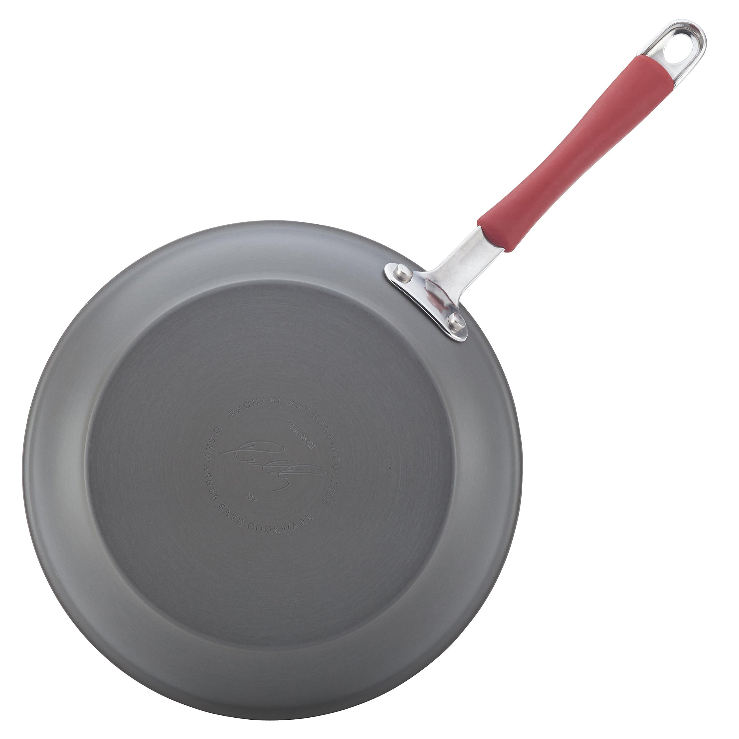 Rachael Ray Cucina Hard-Anodized Aluminum Nonstick Cookware Set, 12-Piece, Gray, Cranberry Red Handles by Rachael Ray (Image #7)