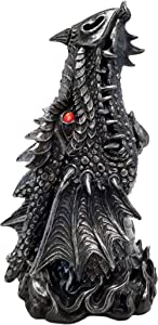 DWK - Puff - Gothic Medieval Dragon Head Incense Burner Box Statue with Nostril Smoke Vent Mythical Fantasy Home Décor Accent, Antique Black Pewter Finish, 12-inch