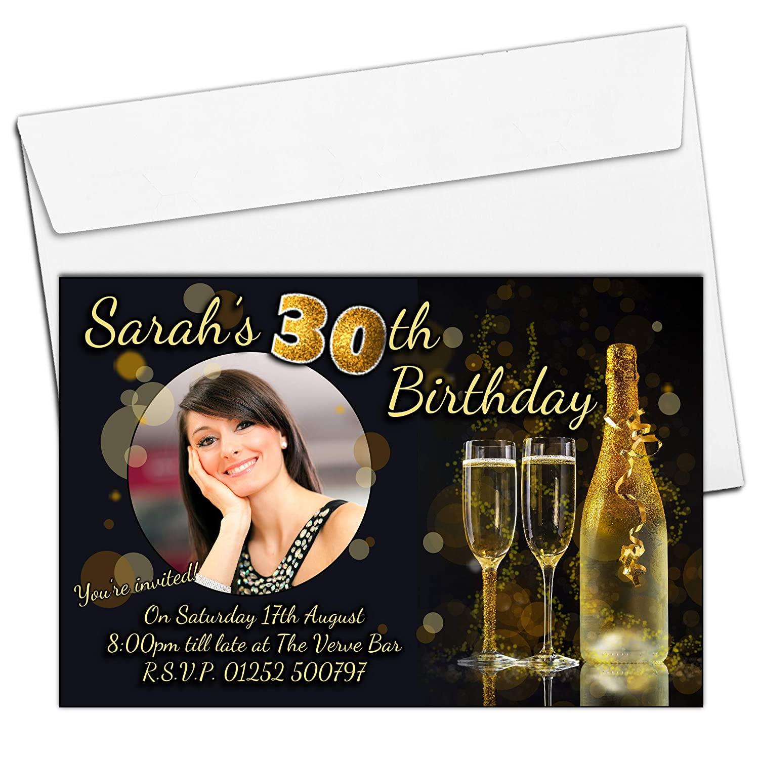 10 Personalised Gold Glitter Champagne 18th 21st 30th 40th 50th 60th Adult Birthday Party PHOTO Invitations N206 - ANY AGE The Personalised Party Co.