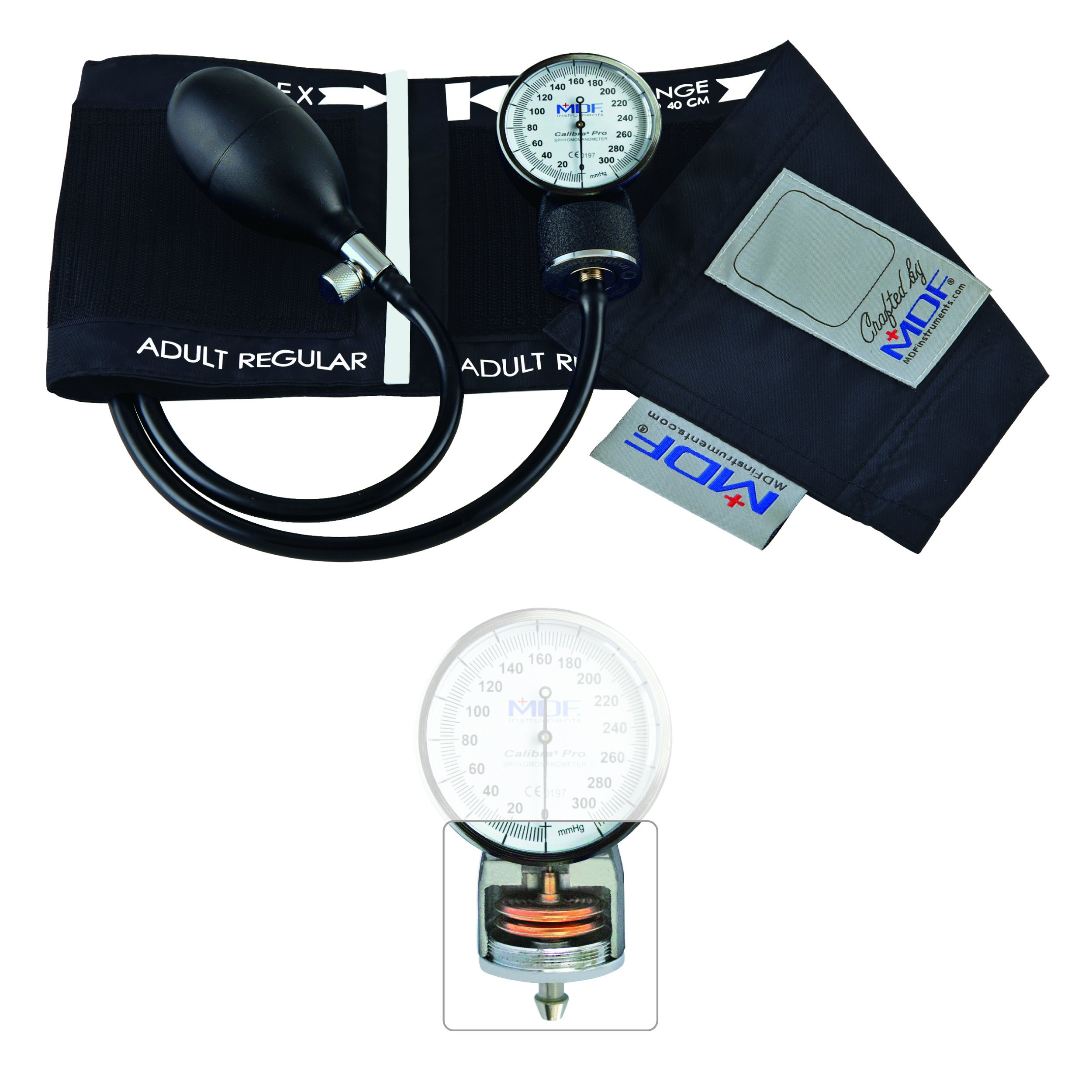 MDF Calibra Pro Aneroid Sphygmomanometer - Professional Blood Pressure Monitor with Adult Sized Cuff Included - Full & Free-Parts-For-Life - Black (MDF808B-11)