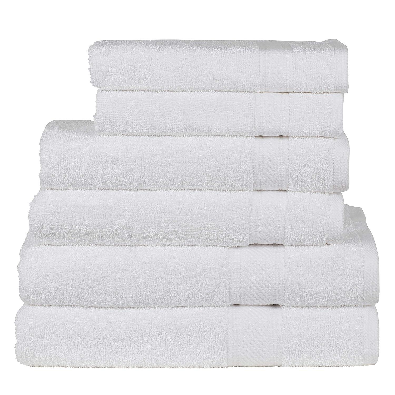 2 serviettes de bain 70x140 CM SweetNeedle Lot de 6 serviettes /à usage quotidien poids lourd et absorbant Blanc 2 serviettes /à main 50x90 CM 2 d/ébarbouillettes 30x30 CM 100/% coton Ringspun