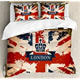 Ambesonne Union Jack Duvet Cover Set Queen Size Vintage Travel Suitcase With British Flag London