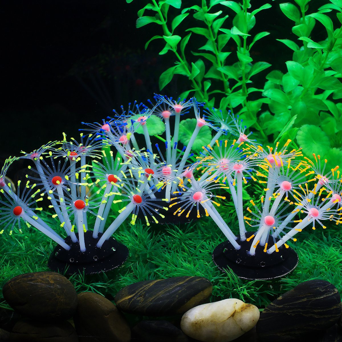 2 Saim Aquarium Coral Ornaments Artificial Coral Plant Decorations for Fish Tank Decor, 3Pcs