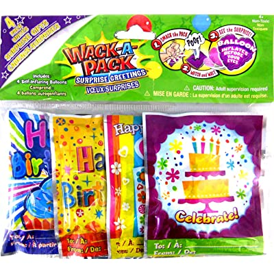 Wack-A-Pack Happy Birthday Self-Inflating Foil Balloons, 1 Package of 4: Toys & Games