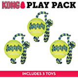 KONG SqueakAir Ball with Rope Dog Toy, Medium x 3