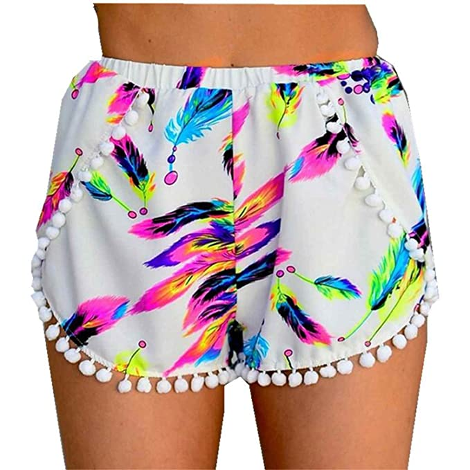 591e62fa268 Vilma Reynoso Women Floral Printed High Waisted Tassel Casual Hot Shorts  Plus Size Feather S