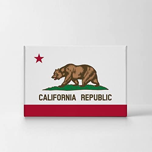 Los Angeles Wall Art California Republic Flag at White Background Canvas Print California Home Decor Artwork Gallery Wrapped Wood Stretched and Ready to Hang