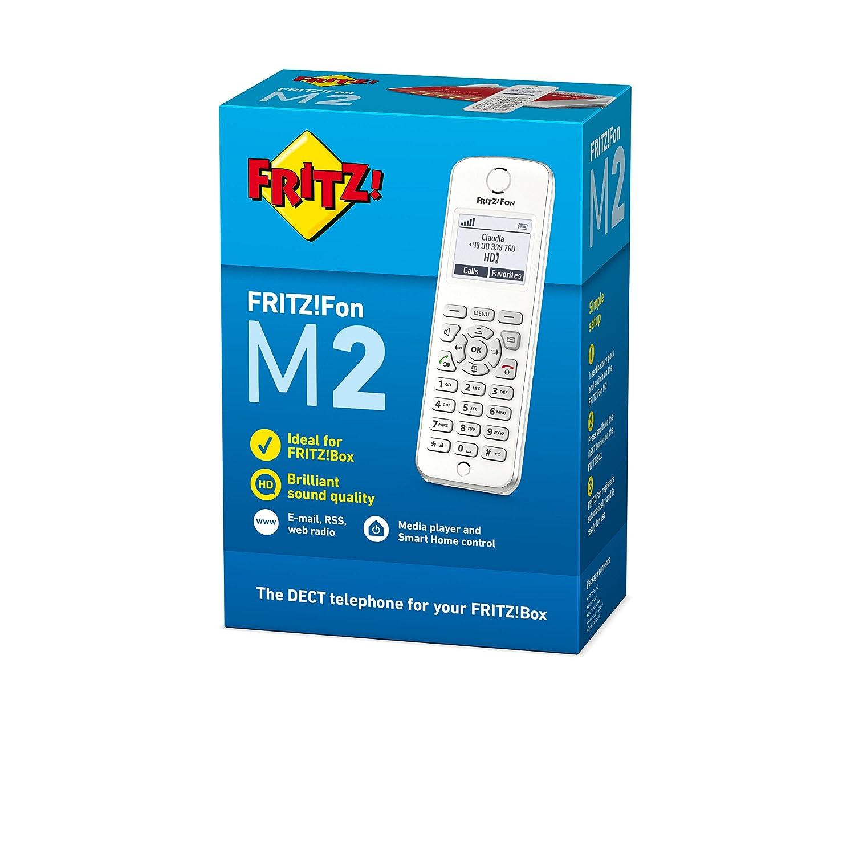 men/ú en espa/ñol radio por Internet Tel/éfono inal/ámbrico DECT noticias RSS pantalla monocroma AVM FRITZ!Fon M2 International enviar y recibir mail podcasts compatible con FRITZ!Box con base DECT