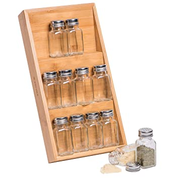 JustNile 3 Tier Bamboo In Drawer Spice Rack, Seasoning Organization, 12  Glass