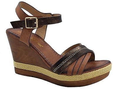 35d81976b2a MaxMuxun Womens Brown Comfortable Wooden Heels Platform Wedge Sandal Size  41 EU  10 US