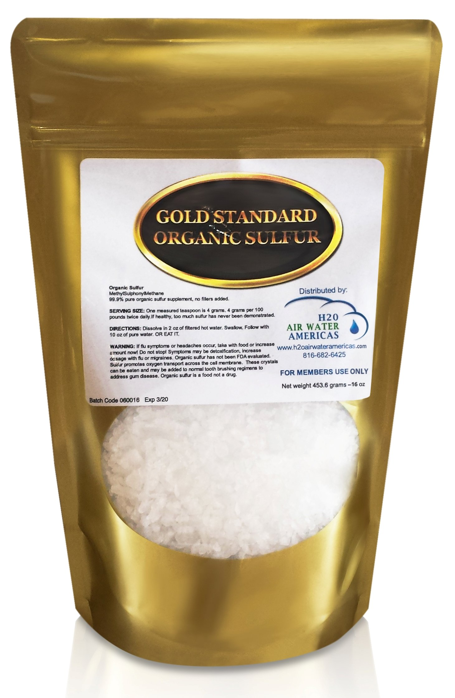Gold Standard Organic Sulfur Crystals 1lb - 99.9% Pure MSM Crystals - Largest Granular Flakes Available! 3rd Party Tested **Same Day Priority Shipping** by H2O Air Water Americas