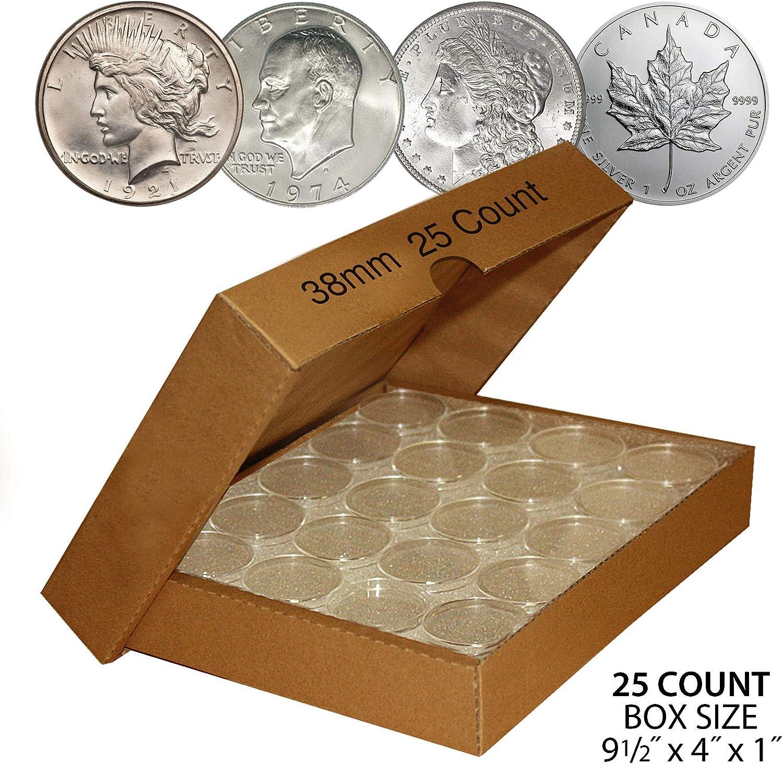 25 Pc 38mm Airtight Capsule Coin Holder Case Box For Morgan Peace Silver Dollar