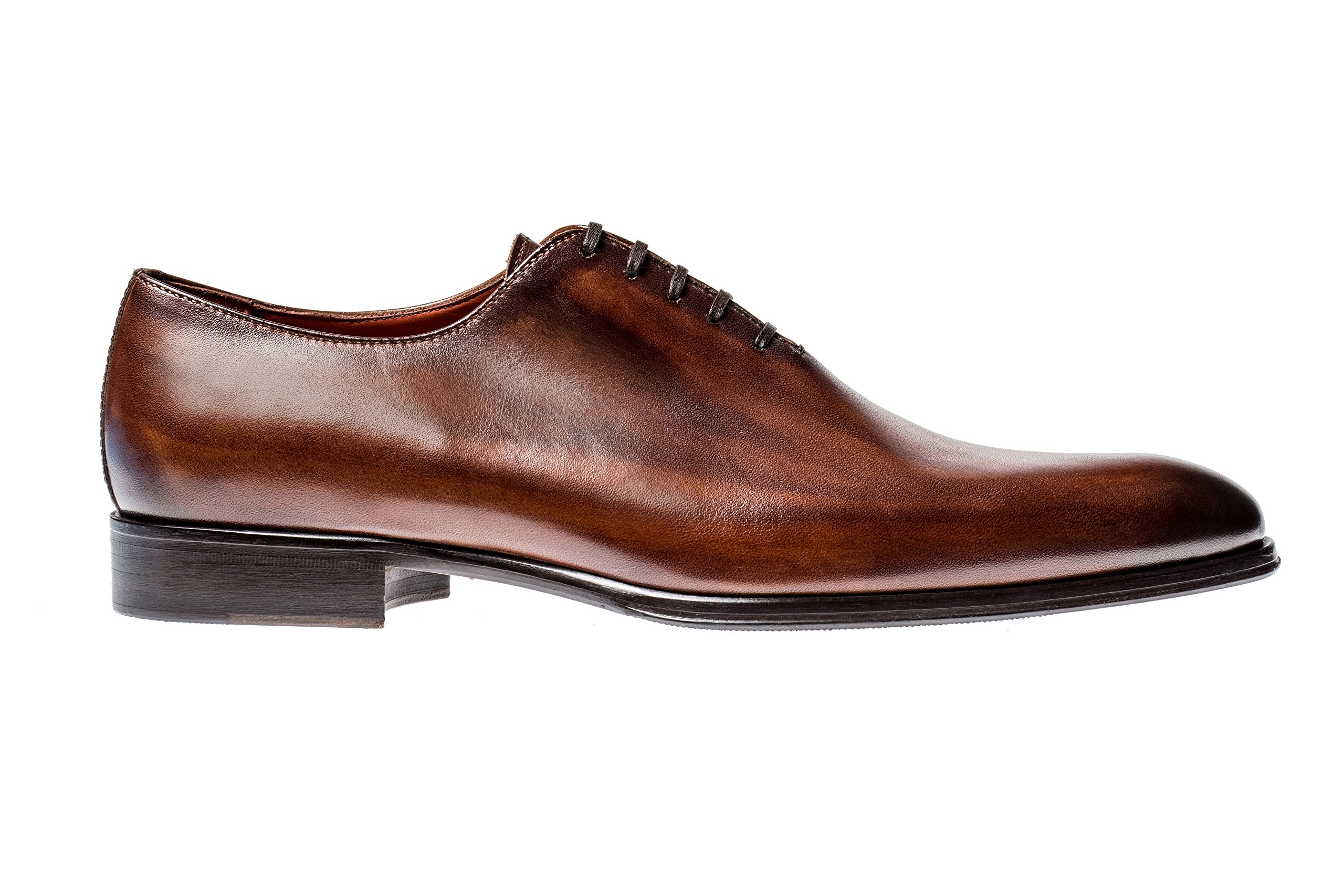 Jose Real Shoes Basoto Collection | slavato Cuoio | Mens Oxford Brown Genuine Real Italian Baby Calf Leather Dress Shoe | Size EU 42