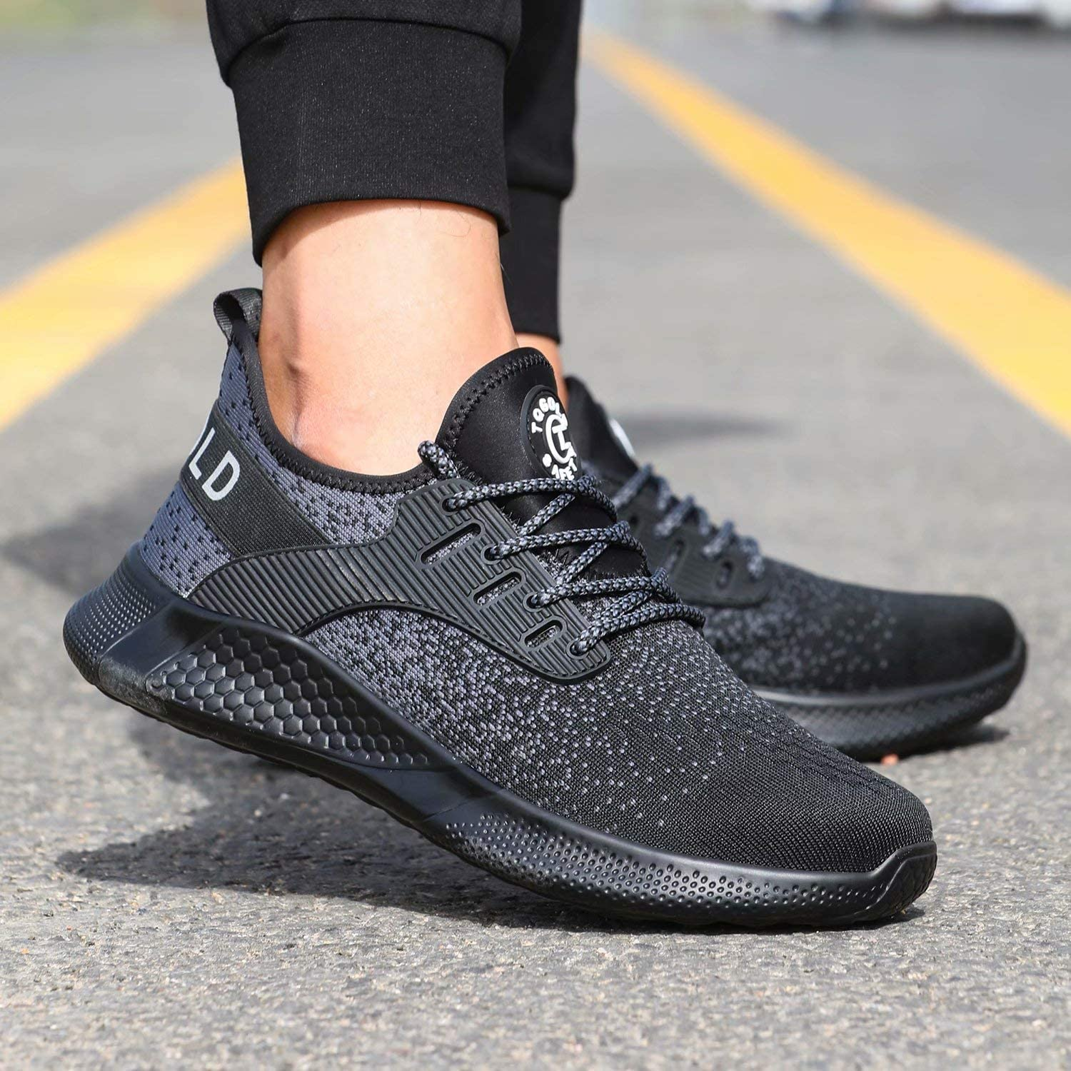 tqgold/® Safety Shoes Men Lightweight Steel Toe Cap Trainers Women Breathable Work Shoes Industrial Sneakers