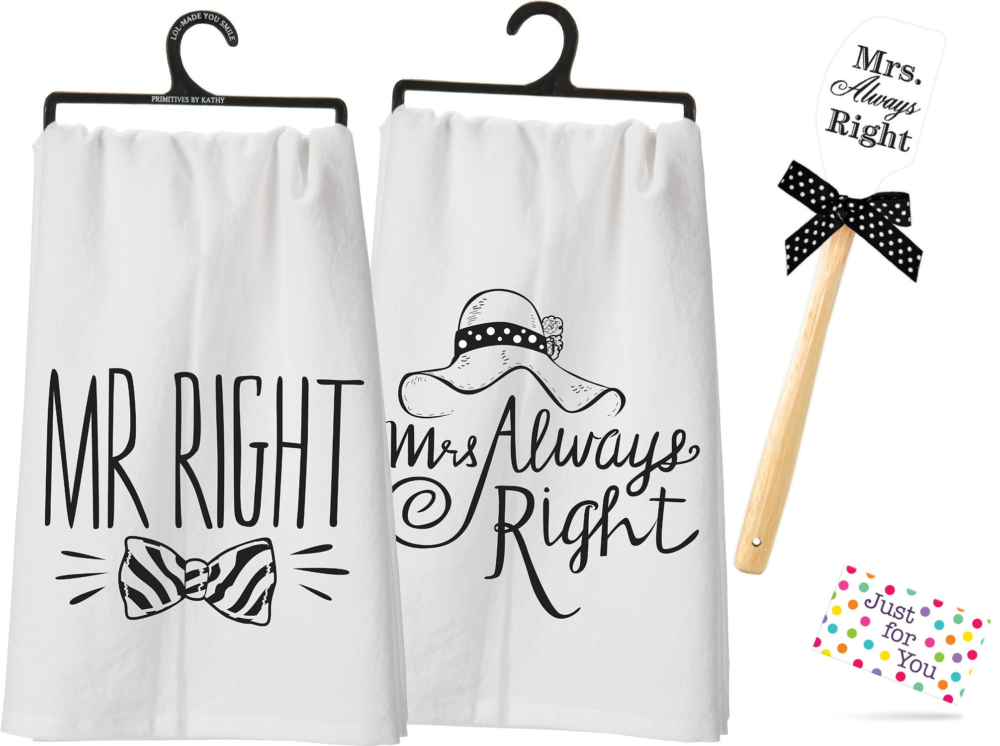 Mr Right and Mrs Always Right Kitchen Set - Two Towels and Spatula with Gift Tag