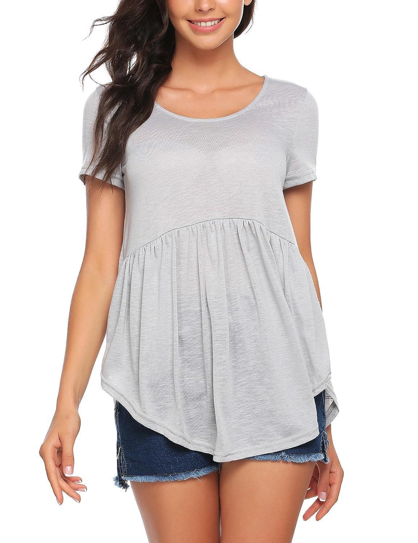 Meaneor Women's Tops Short Sleeve Hi-lo Hem Pleated Casual Babydoll Tunic Shirts #MAH010150