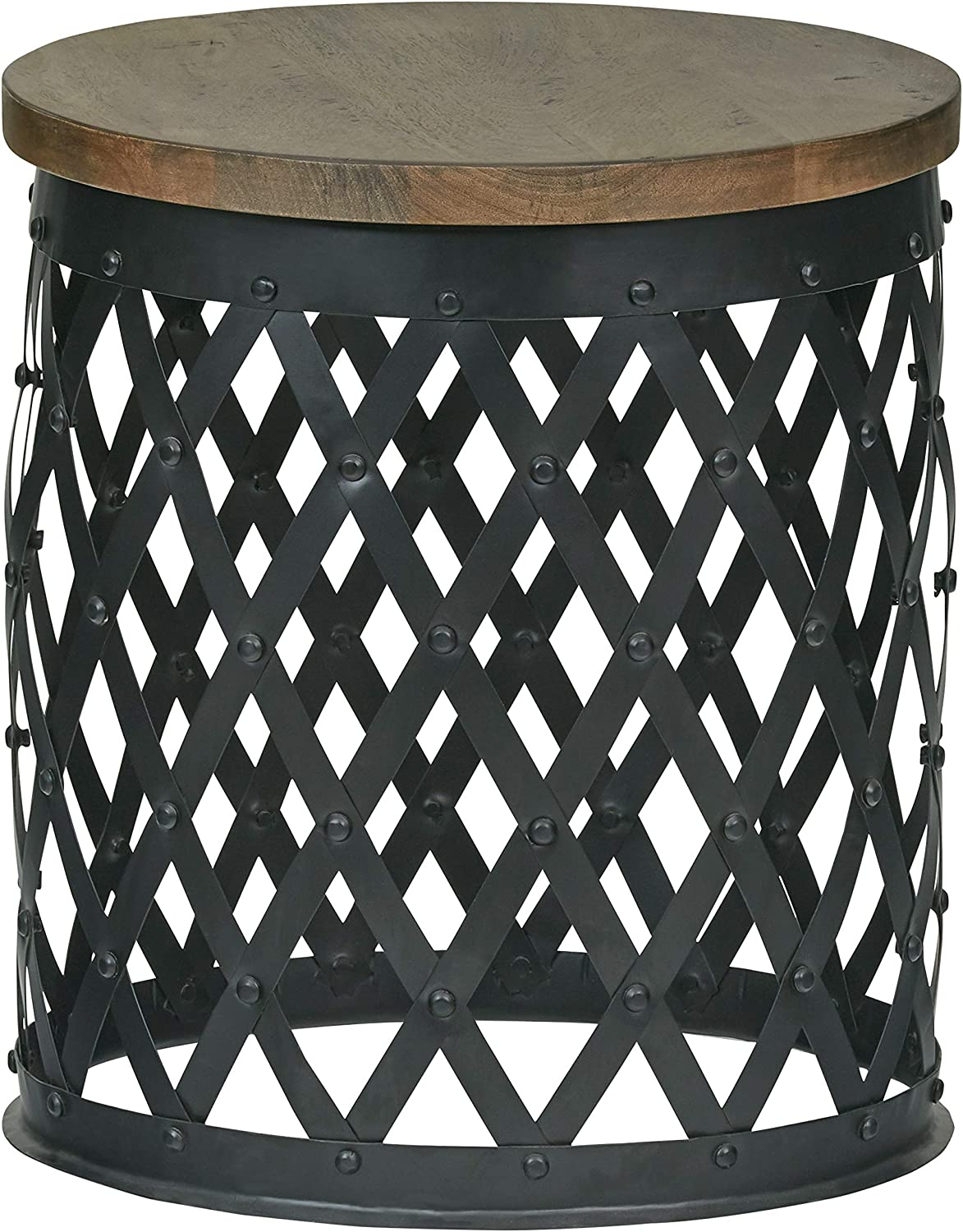 Amazon Brand – Stone & Beam Industrial Side Table with Decorative Metal Base, 15.95