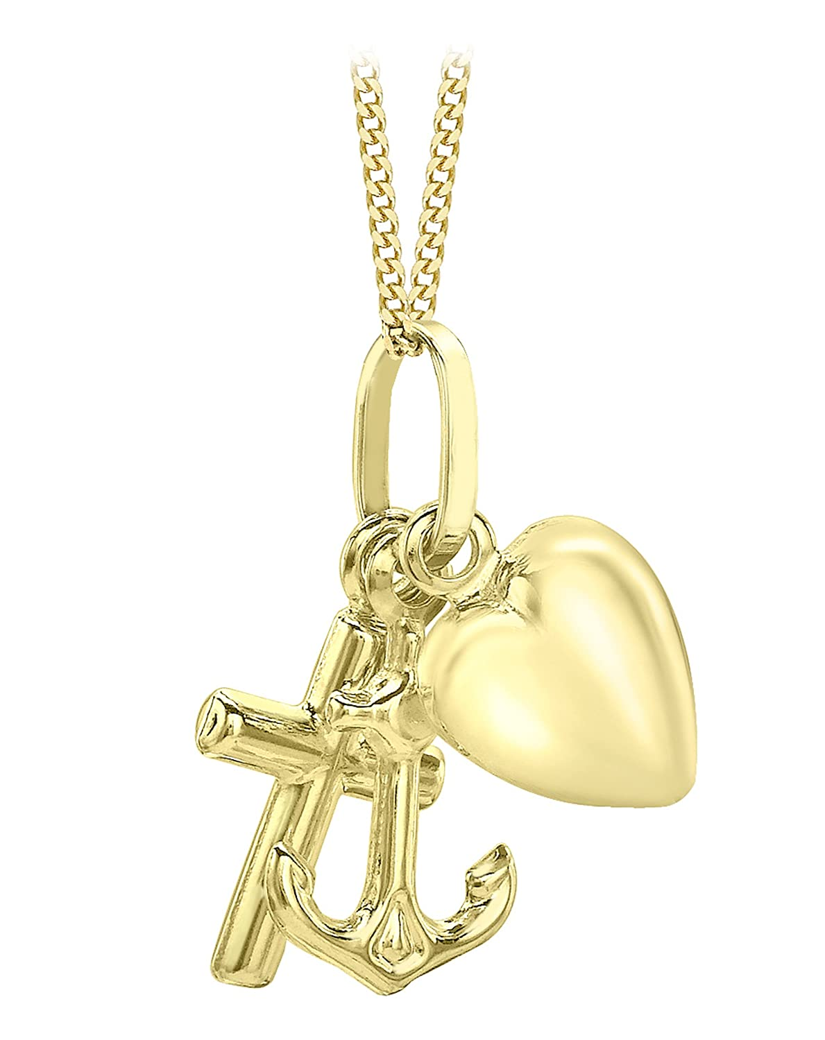 Carissima Gold 9ct Yellow Gold Faith Hope And Charity Pendant On
