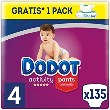 Dodot Activity Pants Pañal-Braguita Talla 4, 135 Pañales, 9-15kg + Dodot Aqua Pure Toallitas para bebé, 1 Pack de 48 Toallitas Gratis: Amazon.es: Salud y cuidado personal