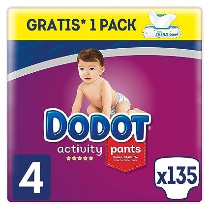 Dodot Activity Pants - Pañales Braguitas, talla 4, Aqua Pure, 48 toallitas gratis, total de 135