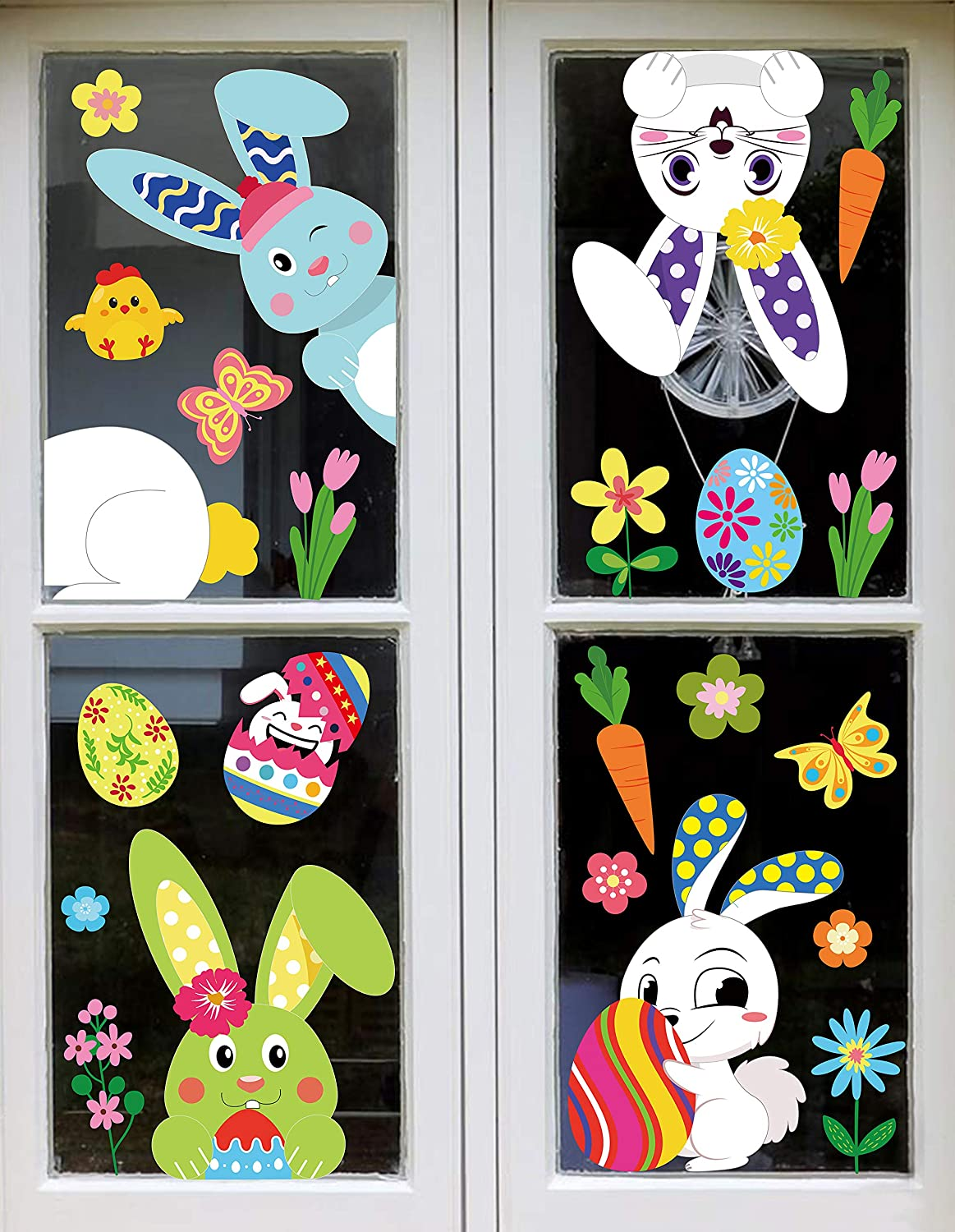 12PCS Easter Bunny Window Cling Decorations   Egg Hunt Games Decals Home  Party Ornaments