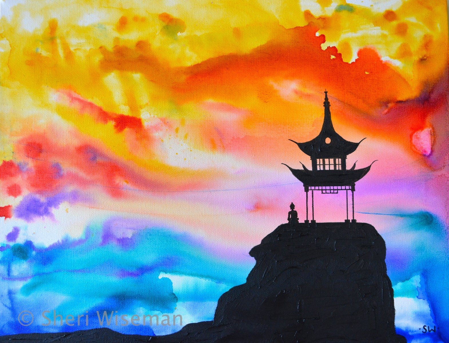 Sunset Pagoda Original Oil and ink painting, 14x18, texture, silhouette by Sheri Wiseman Art