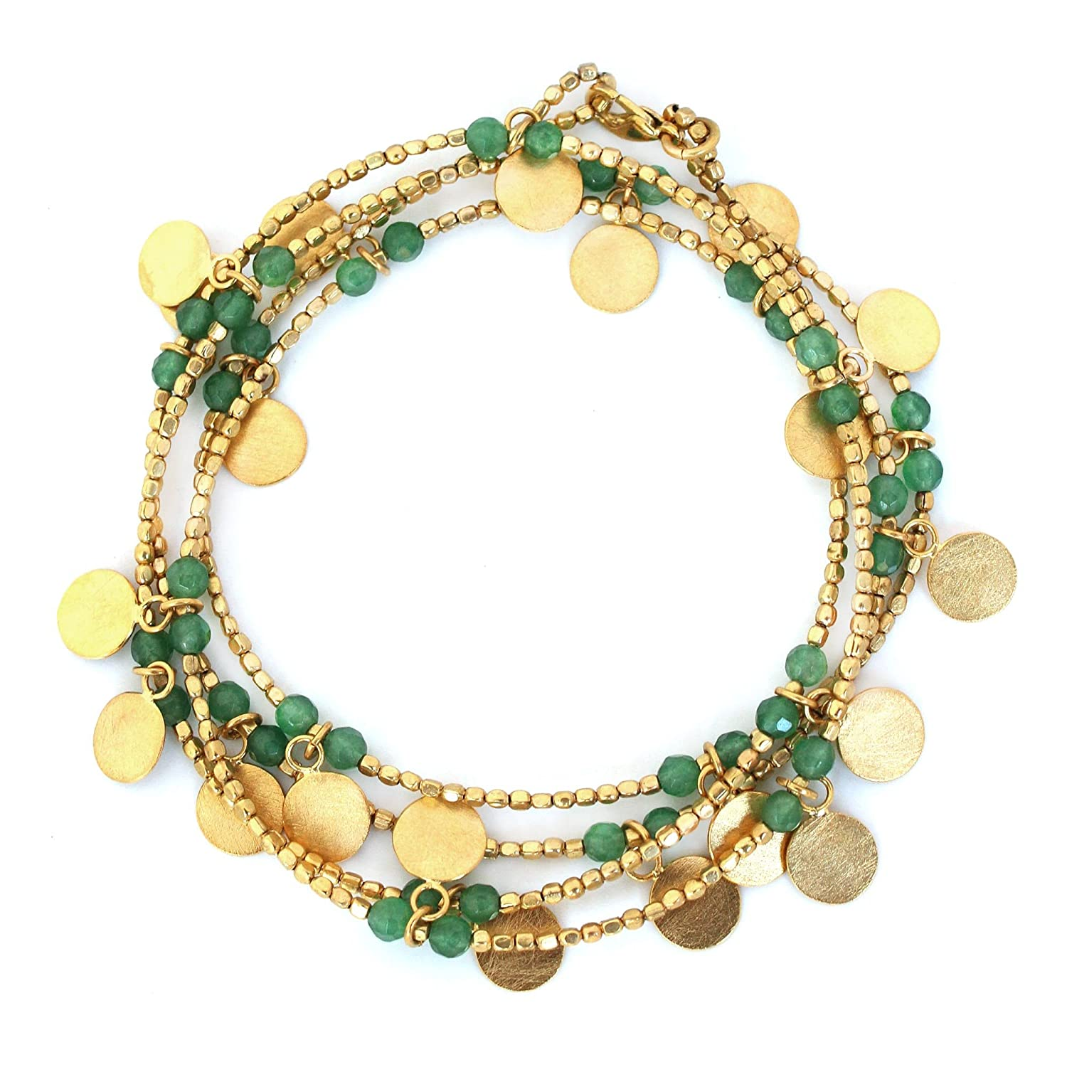 "NOVICA 24k Gold Plated Brass and Quartz Green Beaded Wrap Bracelet, 37"", 'Verdant Suns'"