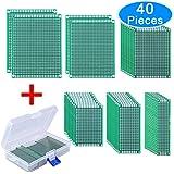 AUSTOR 40 Piezas Placas Circuito Impreso 6 Tamaños PCB Prototipo de Doble Cara con Caja Libre