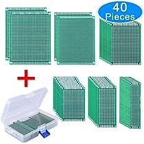 AUSTOR 40 Piezas Placas Circuito Impreso 6 Tamaños PCB Prototipo de Doble Cara con Caja Libre para Soldadura Bricolaje y Proyecto Electrónico: Amazon.es: Electrónica