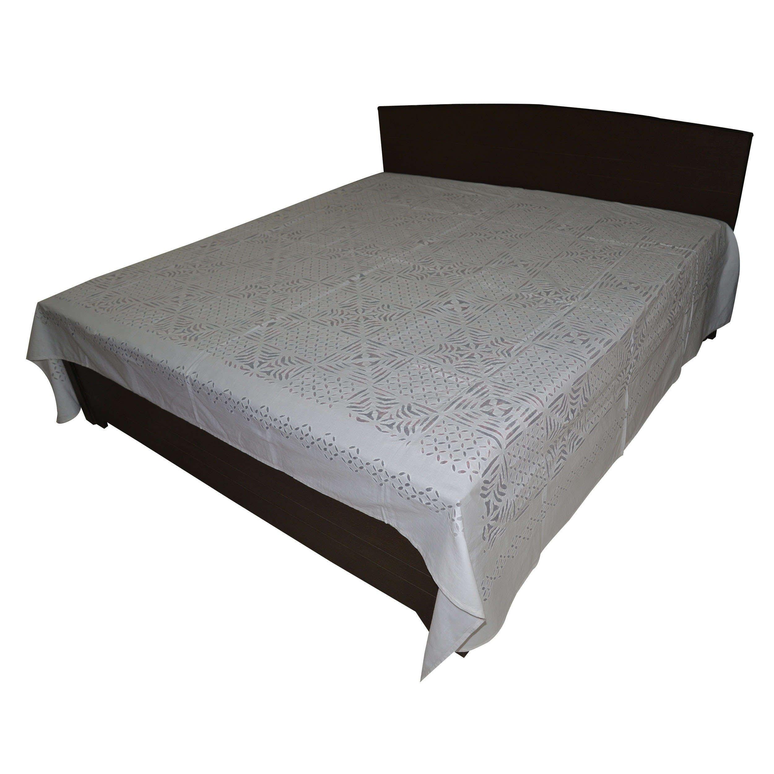 DronaIndia Applique Cutwork Hand Embroidered White Flat Sheet Floral Design Cotton Bedsheet
