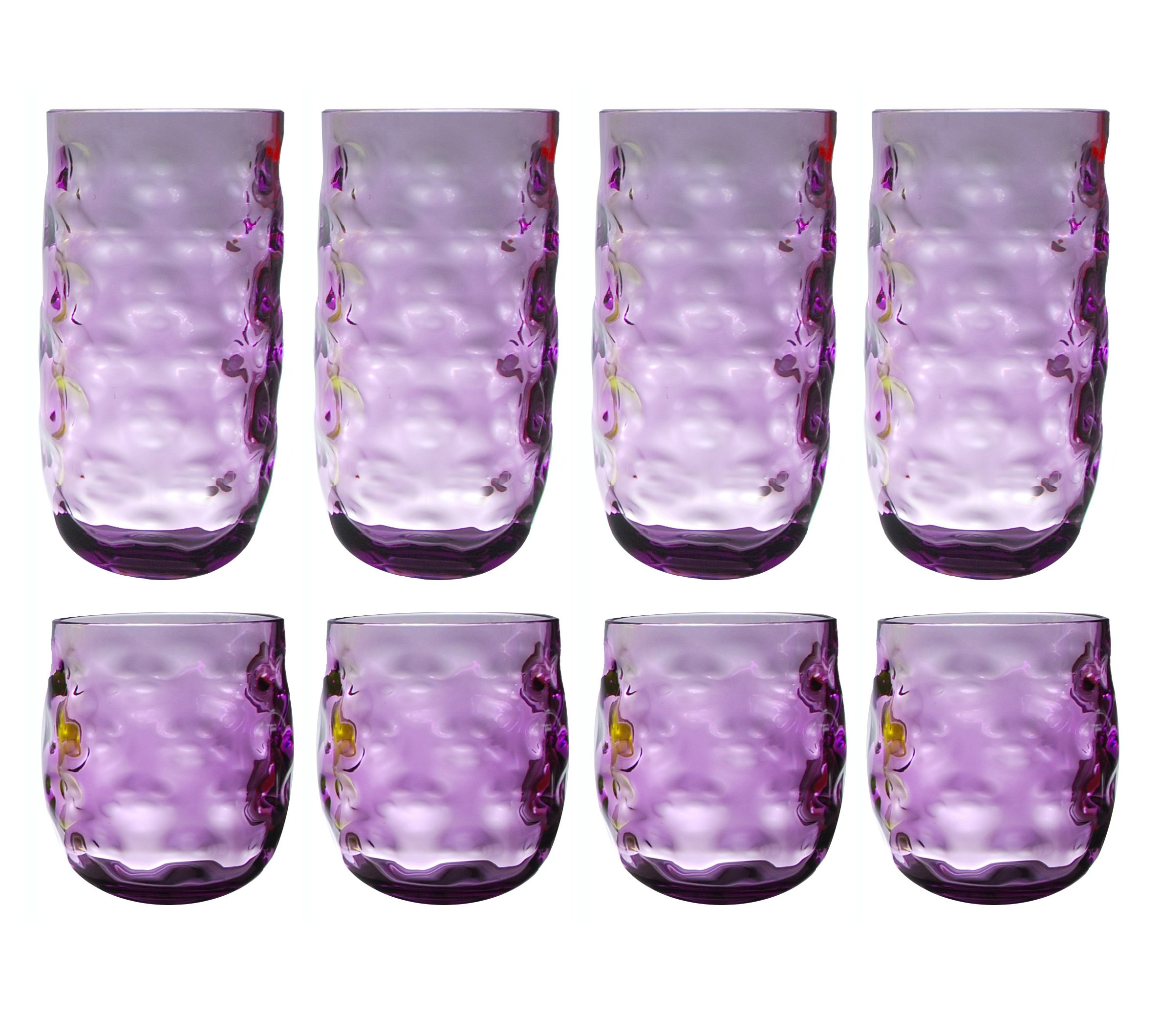 QG Clear Colorful Acrylic Plastic 14 & 23 oz. Cup Drinking Glass Tumbler Set of 8 Purple