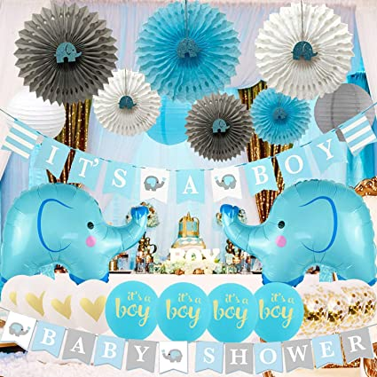 Blue Elephant Boy Baby Shower Balloon Weight