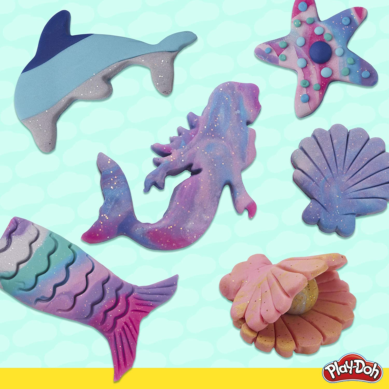 Play-Doh Bulk Mermaid Colors 13-Pack of Non-Toxic Modeling Compound with Sparkle and Metallic Colors Plus 5 Tools Exclusive