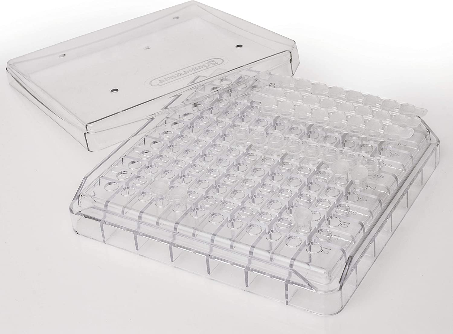 Bel-Art F18837-0000 PCR Tube Freezer Storage Box; 0.2ml, 144 Places, 5¼ x 5¼ x 1 in., Polycarbonate (Pack of 5)