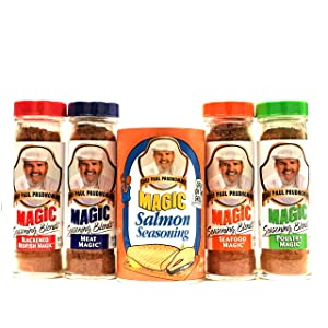 Chef Paul Prudhomme| Magic Seasoning Blends, Variety Packs, (2 Oz. Poultry, Blackened Redfish, Meat, Seafood) (7 Oz. Salmon) | Total Pack of 5