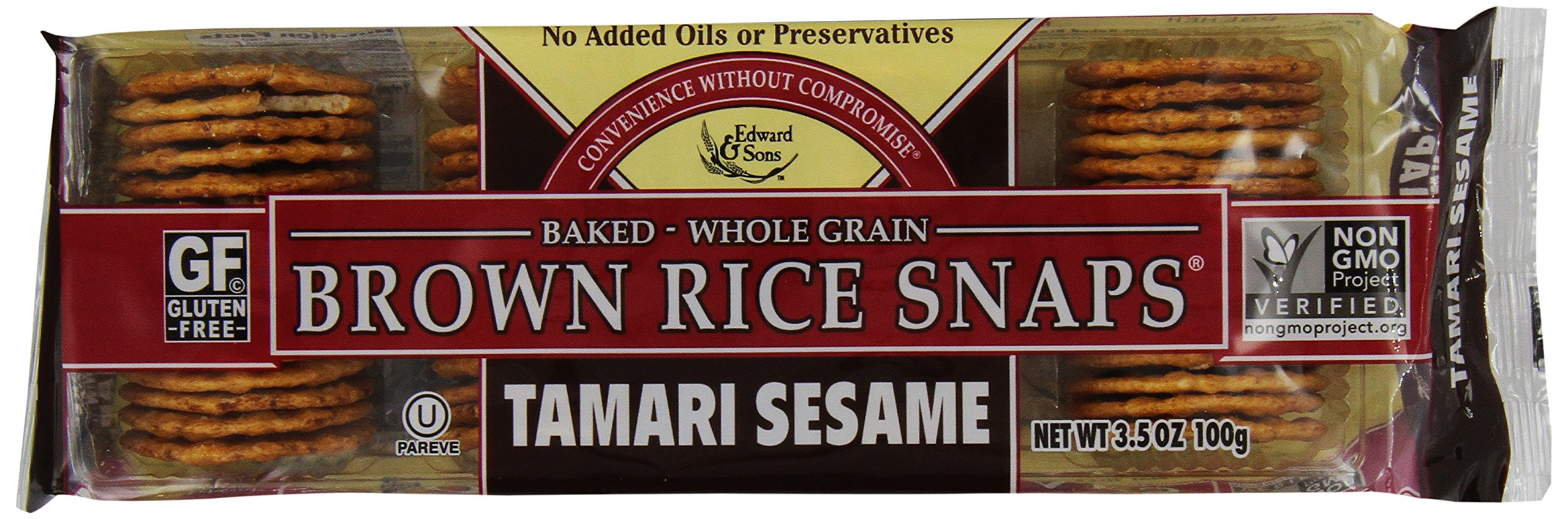 Edward & Sons Trading Co Fat Free Snaps, Tamari/Ses, 3.50-Ounce (Pack of 6)