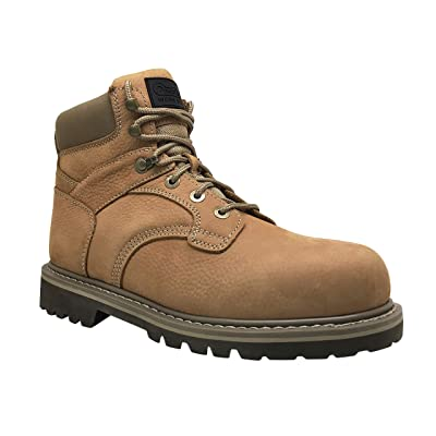 Overstone Men's 6'' Steel Toe Leather Work Boot, Electric Hazard Protection, Industrial and Construction Work Boots   Industrial & Construction Boots
