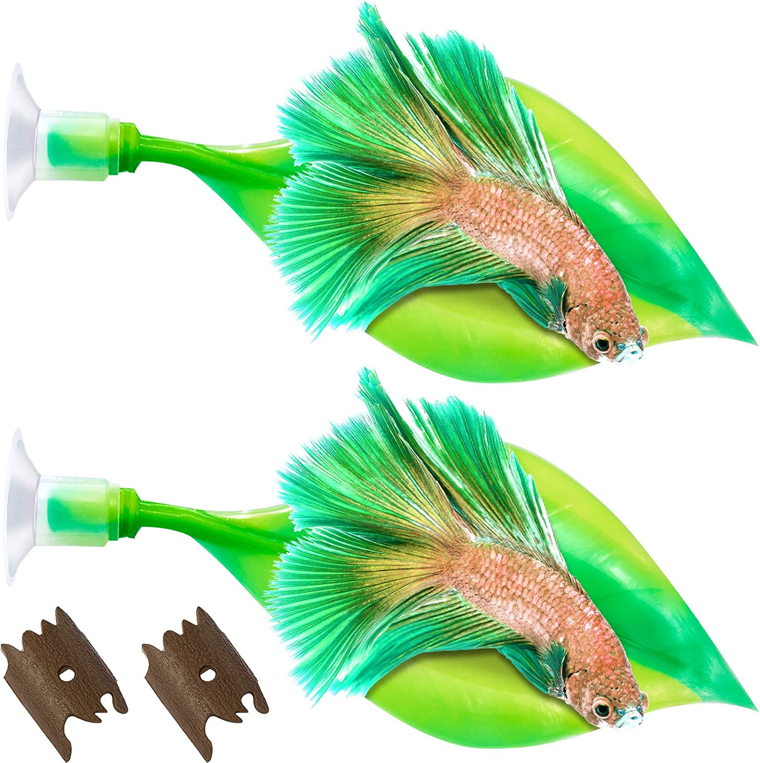 WILLBOND 2 Pieces Silicone Betta Bed Leaf Hammock for Betta Fish, Betta Fish Bed, Practical Resting Spot, No BPA, Comfortable and Safe