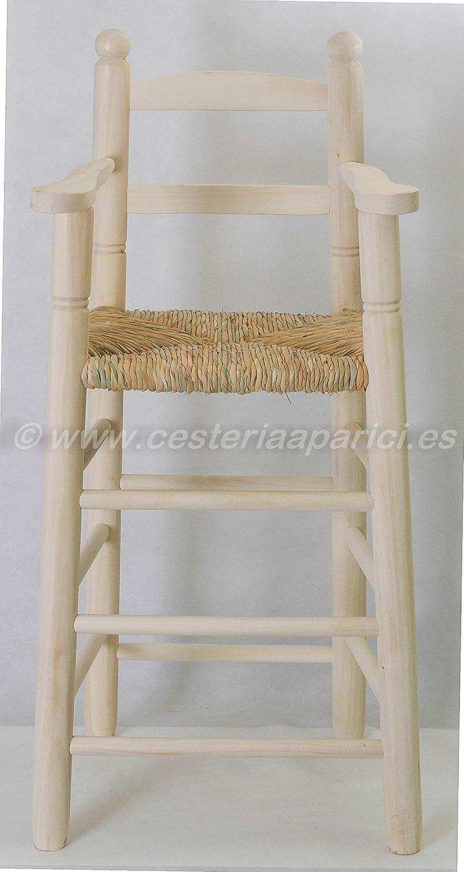 Alto Respaldo 85cm Cesteria Aparici Trona de Madera Natural Ancho: 37cm Largo: 34cm Alto Asiento: 57cm