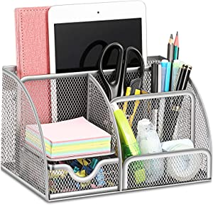 SITHON Mesh Desk Organizer with Drawer, Multifunctional Desktop Storage Box Business Card/Pen/Mobile Phone/Stationery Holder, All in One Home Office Supplies Desk Accessories Organizer, Silver Gray