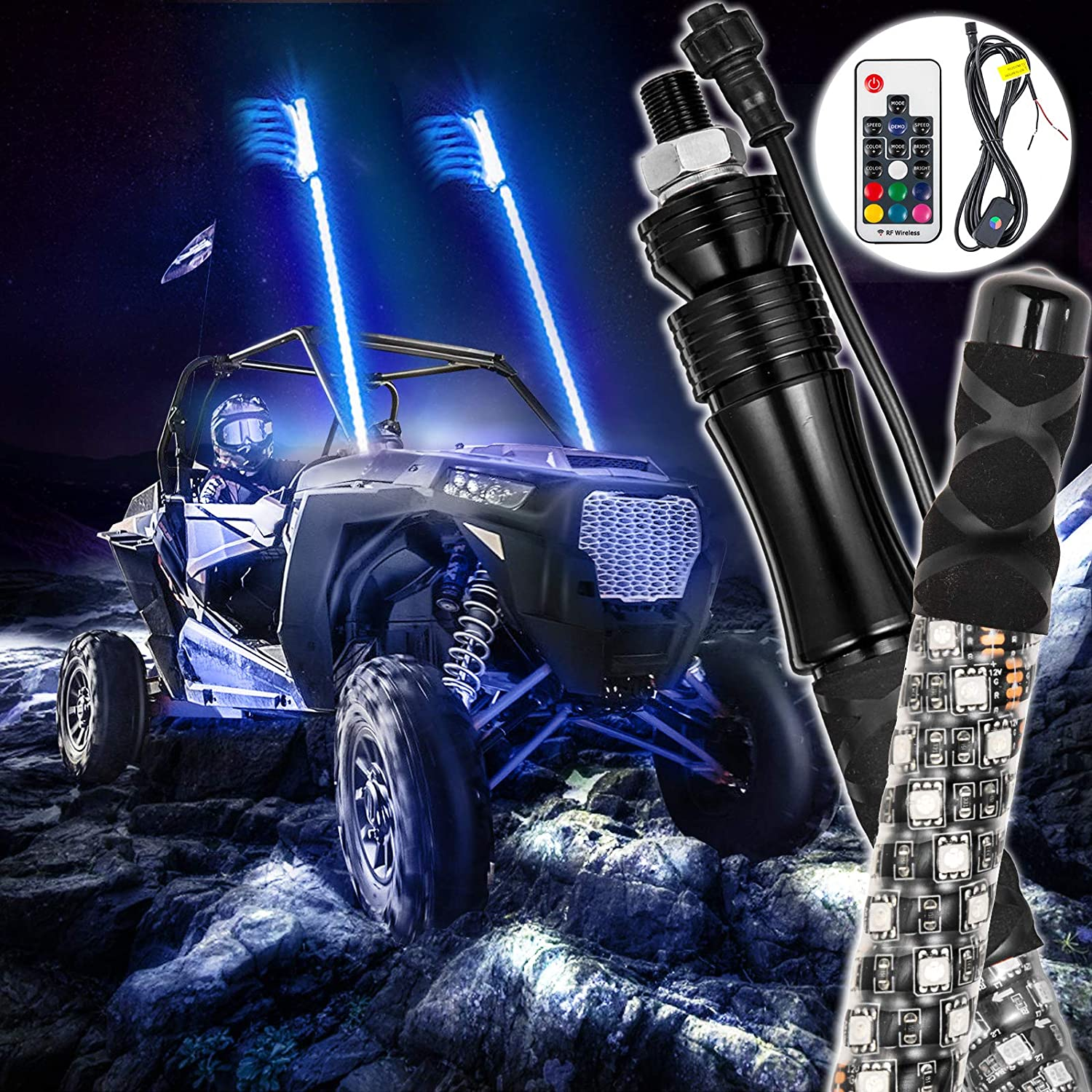 GTP 5ft Spiral LED Whip Lights 360/° Twisted 20 Color RGB 21 Modes Lighted Whips Antenna W//Flag for UTV ATV Polaris RZR Quad Off Road Jeep Can-am Maverick Yamaha Sand Dune Buggy 4X4