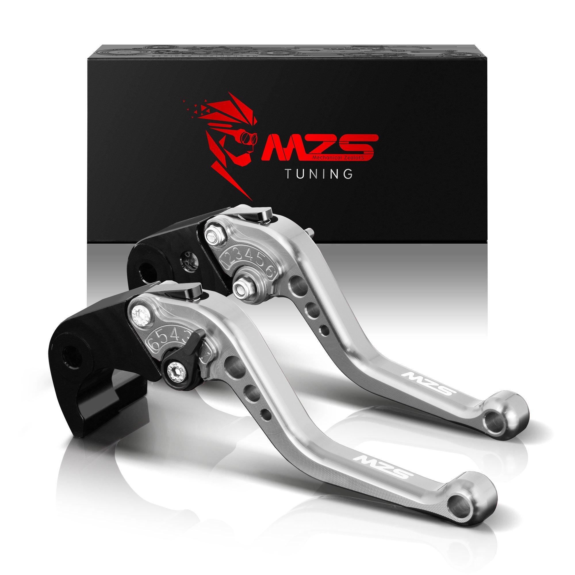 MZS Short Levers Brake Clutch CNC Silver compatible Kawasaki Ninja ZX10R ZX-10R 2004 2005