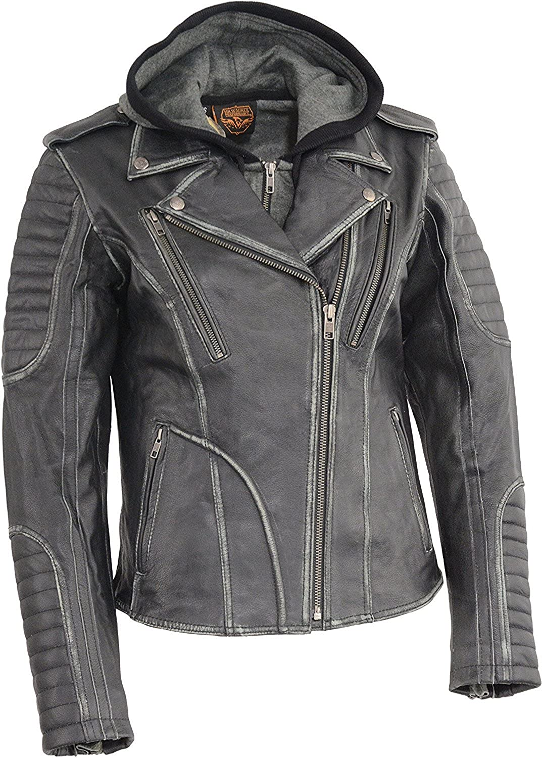 Milwaukee Leather Womens Rub-Off Leather M//C Jacket w//Removable Full Hoodie Jacket Liner