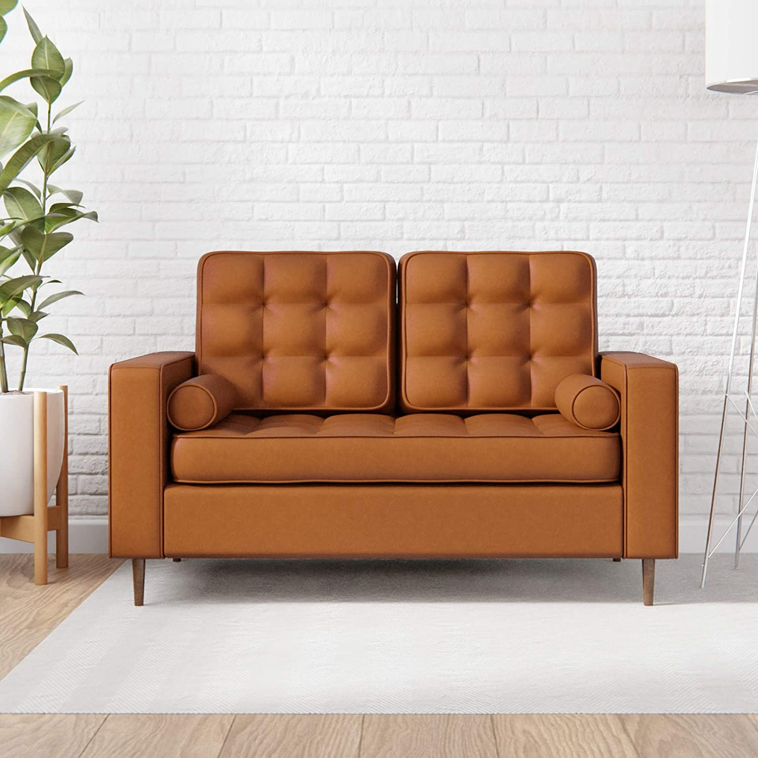 Edenbrook Lynnwood Upholstered Loveseat with Square Arms and Tufting-Bolster Throw Pillows Included, Faux Camel