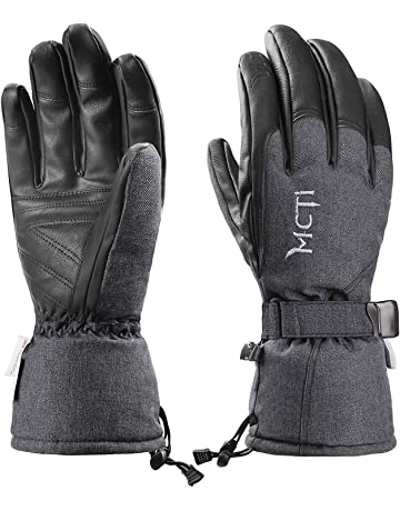 MCTi Ski Gloves Winter Waterproof Snowboard Snow Warm 3M Thinsulate PU  Leather Cold Weather Gloves for 78c87985e6e